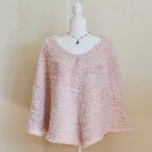 Adrienne Landau Pink Rabbit Fur Poncho Cape